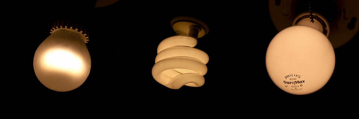 LED, CFL and incandescent bulbs